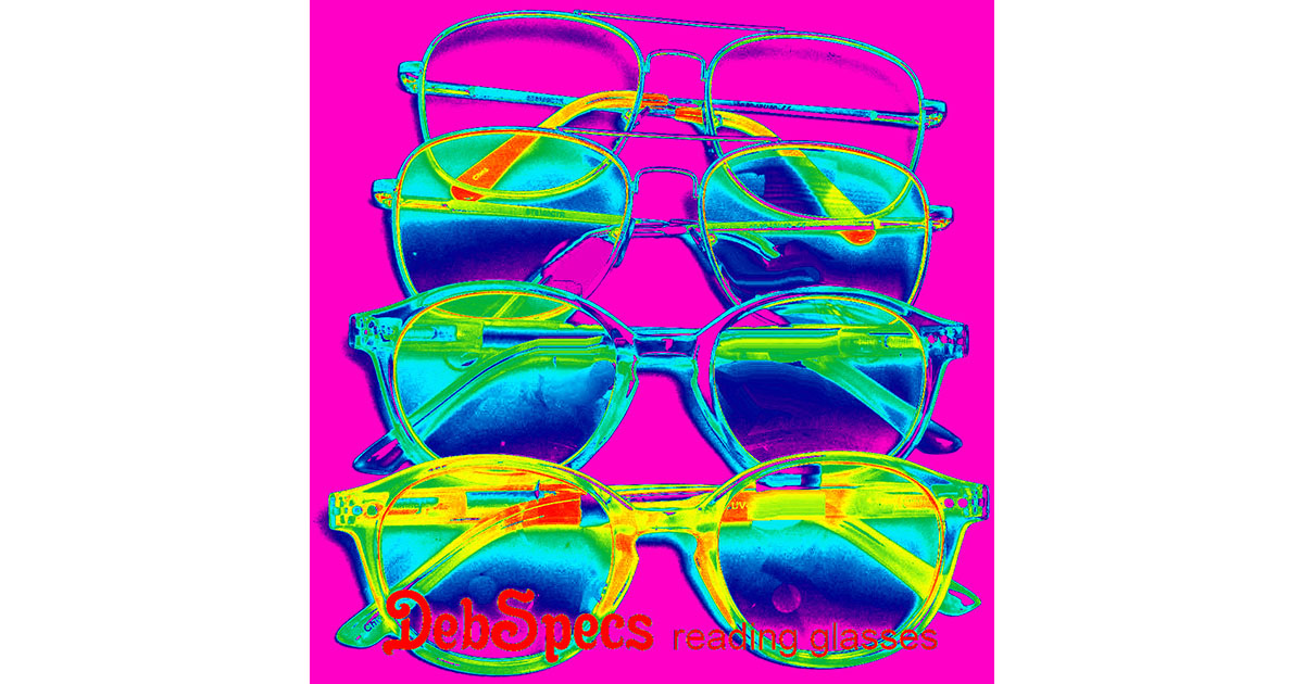 reading glasses with colorful lens tints in orange, yellow, blue or purple